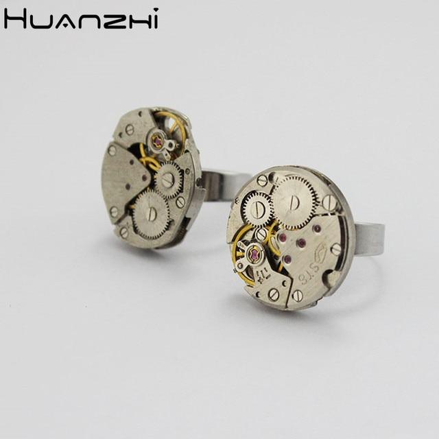 HUANZHI 2020 nowy Punk indywidualność fajny facet ruch Steam Gear regulowane metalowe pierścionki dla kobiet Man Couple ring