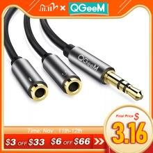 QGEEM Divisor de Audio 3,5mm Cable para conector de ordenador 3,5mm 1 macho a 2 hembra Mic Y Splitter AUX Cable Headset Splitter Adapter