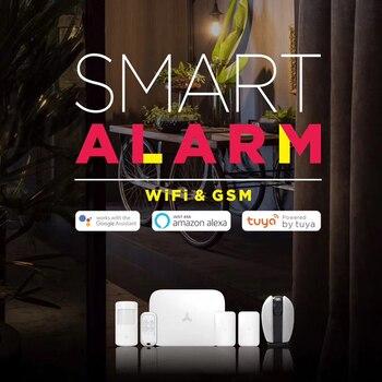 Tuya WiFi Alarm Wireless Home Security Alarm GSM Intruder Alarm System with Smart APP Amazon Alexa Google Home Voice Control yobang security english russian spansih voice prompt sim home security wifi gsm alarm system app remote control