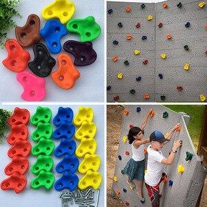 Image 2 - 15 pcs 12cm Big Size Plastic Children Kids Rock Climbing Wood Wall Stones Hand Feet Holds Grip Kits Without Screw Random Color