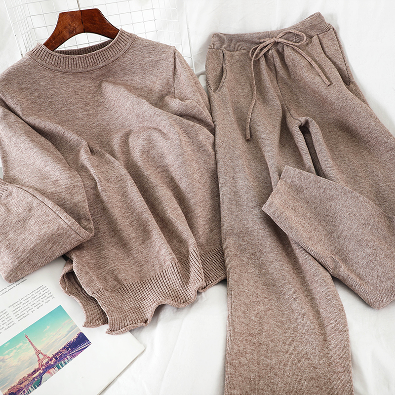 Mooirue Winter Kintting Pants Set Women O Neck Casual Pullover+pockets High Waist Pants Vintage Streetwear Women 2 Piece Set