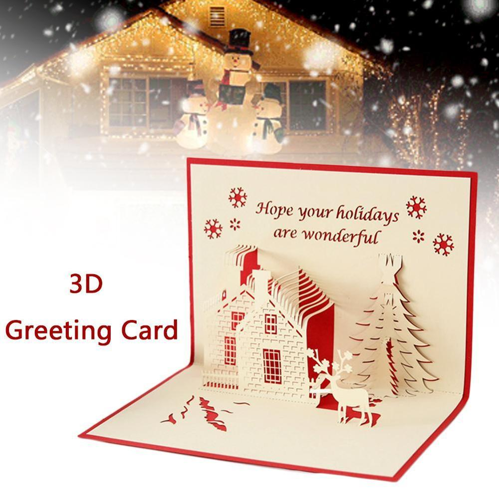 Merry Christmas Tree 3D Up Greeting Card Laser Cut Envelope Postcard Handmade Gift New Year