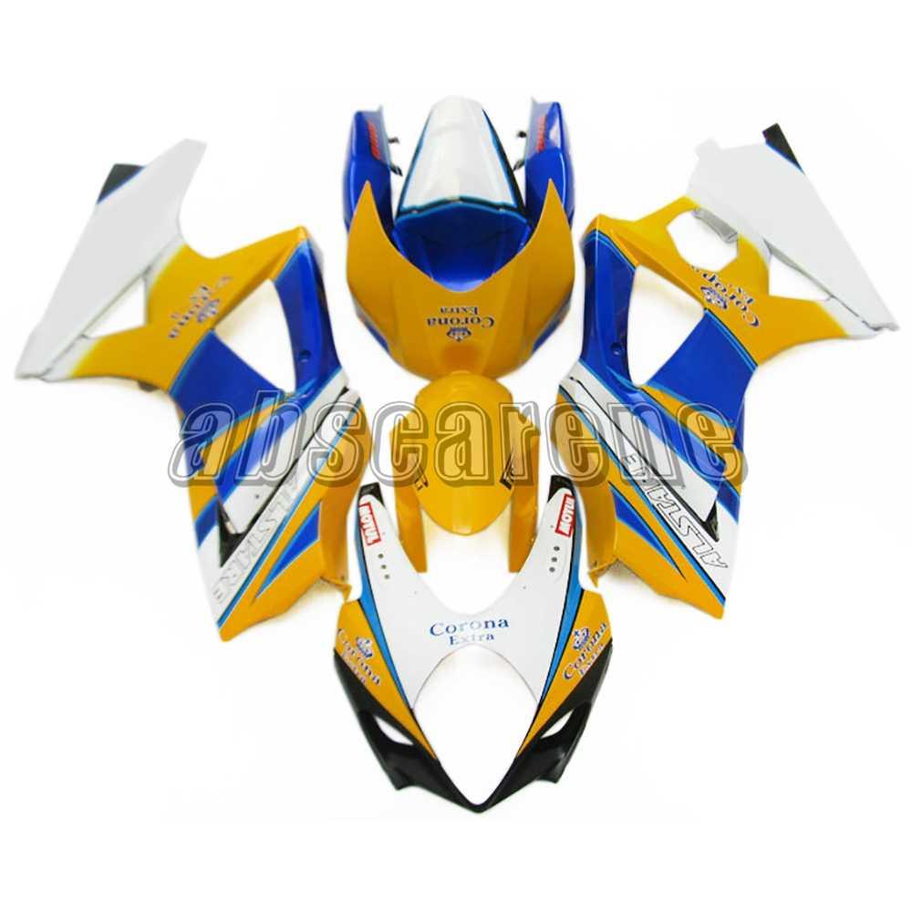 אופנוע מלא מעטפת לסוזוקי GSXR1000 K7 2007 2008 GSXR-1000 07 08 ABS פלסטיק הזרקת כיסויים מבריק צהוב לבן כחול
