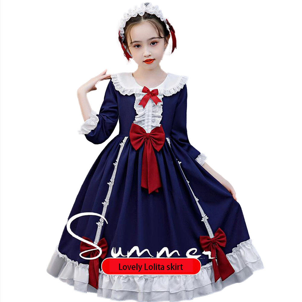 Arrival Gothic Lolita Dress Soft Sisiter Bow Bear Lace Red Blue Pink Dress Women Princess Dress Halloween Costume for Girls 15T