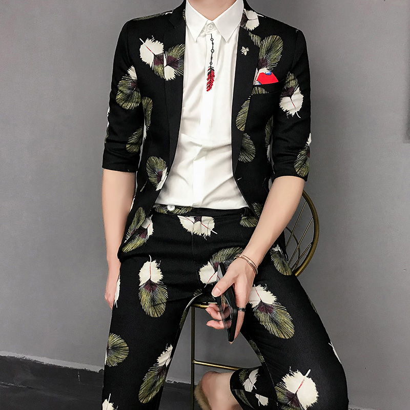 Feather Printed Men Suits Slim Fit Black Designer Casual Suit For Mens Party Fashion Stage Clothes Mens Club Costumes 2 Pieces