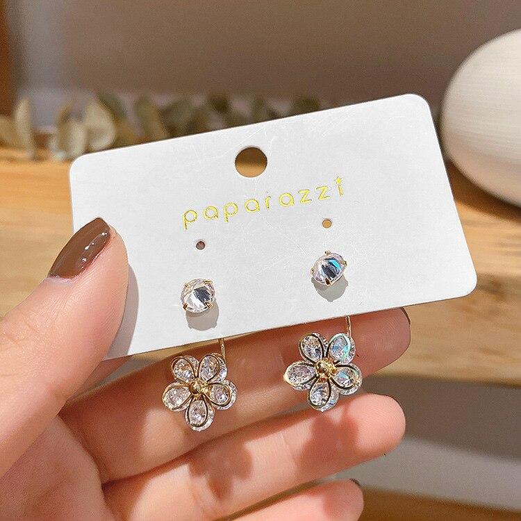 Simple Female White Crystal Stone Earrings Charm Zircon Gold Color Dangle Earrings For Women Cute Bridal Flower Wedding Earrings