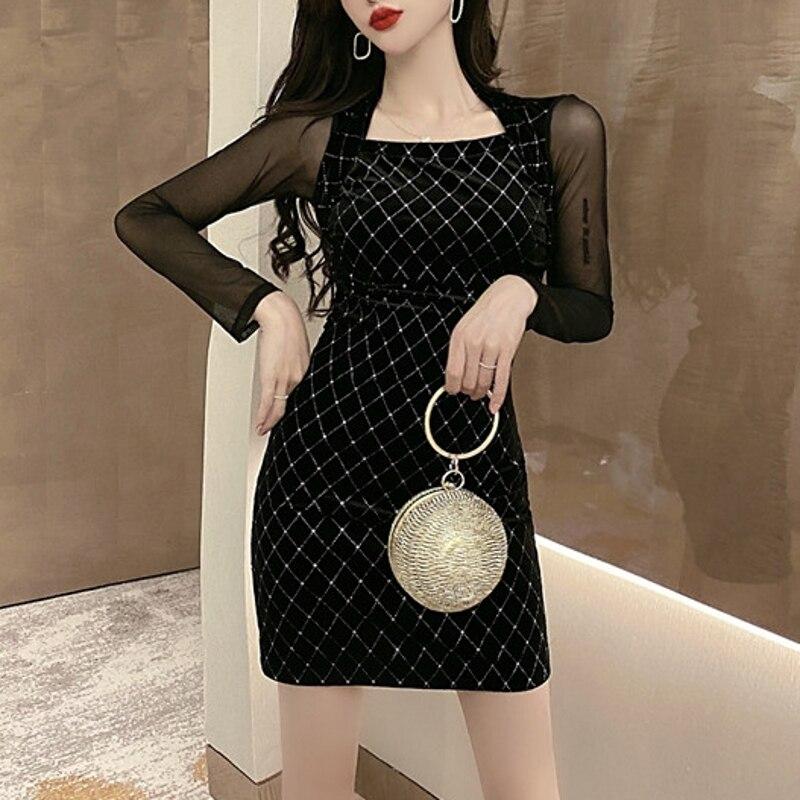 Женское платье в Корейском стиле, весеннее платье из сетчатой ткани со стразами, модель D03201, 2020