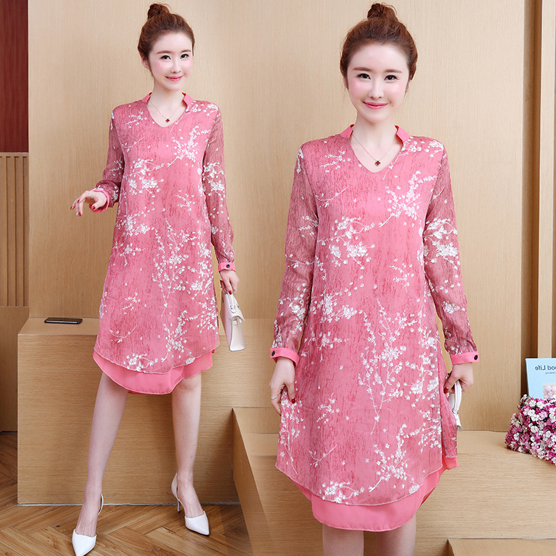 Large Size Dress 2019 Spring Clothing New Style Chiffon Printed One-piece Dress Fashion Fat Mm Cover Belly Dress 200