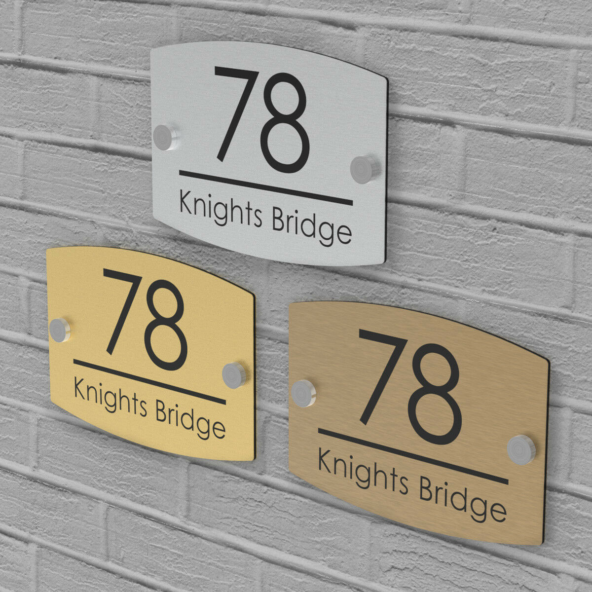 Customize House Number Plaques Door Sign Street Name Wall Plate - Gold Silver