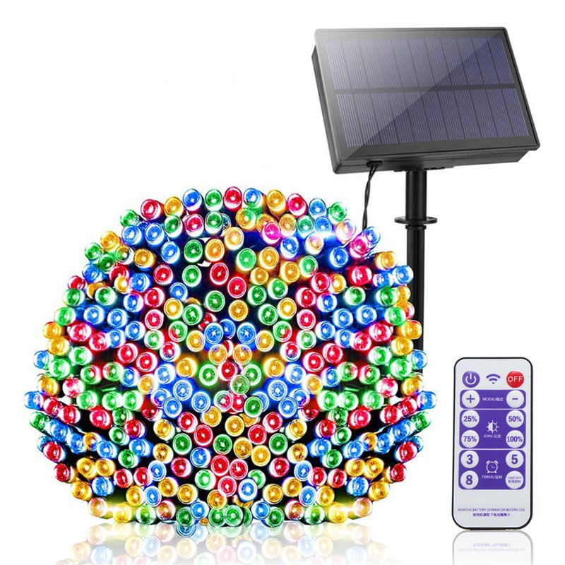 Solar Panel LED String Light With Remote Dimmable Outdoor Garden Christmas Fairy Tale Holiday Lighting Decora