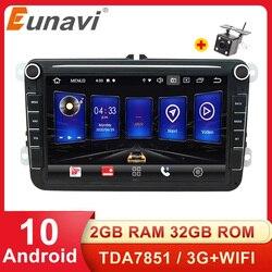 Eunavi 2 Din Android Car Radio GPS Auto Multimedia For Volkswagen VW Passat Polo GOLF Touran Jetta Tiguan Magotan Seat Audio DSP