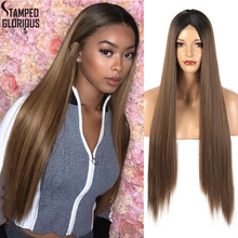 Stamped Glorious 30 Inch Long Synthetic Straight Wig Omber Brown Wig Middle Part Wig for Women Lace Wig Natural Hairline ultra long center part straight synthetic wig