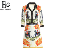 Baogarret Designer Autumn Vintage Skirt Suit Womens Sexy V-Neck Printed Blouse + Sequin Split High Quality Two Piece Set