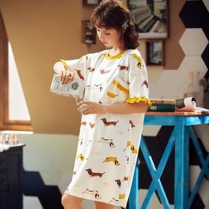 Image 4 - BZEL לבן נשים של פיג מות אביב קיץ הלבשת קצר שרוול גבירותיי לילה שמלת כותנה כתונת הלילה כתונת לילה חדש Cartoon הלבשה תחתונה