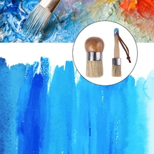 2 Pcs Round and Flat Chalk Paint Wax Brush Ergonomic Wood Handle Natural Bristle Brushes Furniture DIY Painting Waxing Tool 449C