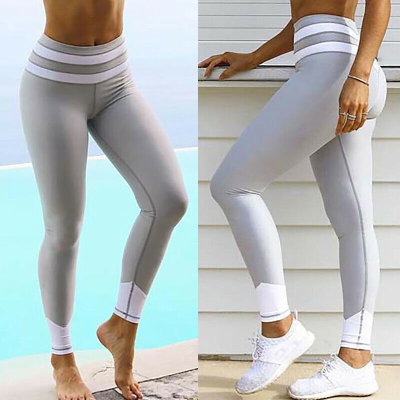 Women Fitness Leggings Striped Printing Fashion Leggings Sexy High Waist Ladies Leggings Black Gray Home Elastic Comfort Bottoms