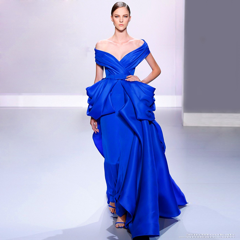 Fancy Trendy Ladies Dinner Ball Gown Vestido De Noiva Royal Blue Evening Gown Prom Long Party Mother Of The Bride Dresses