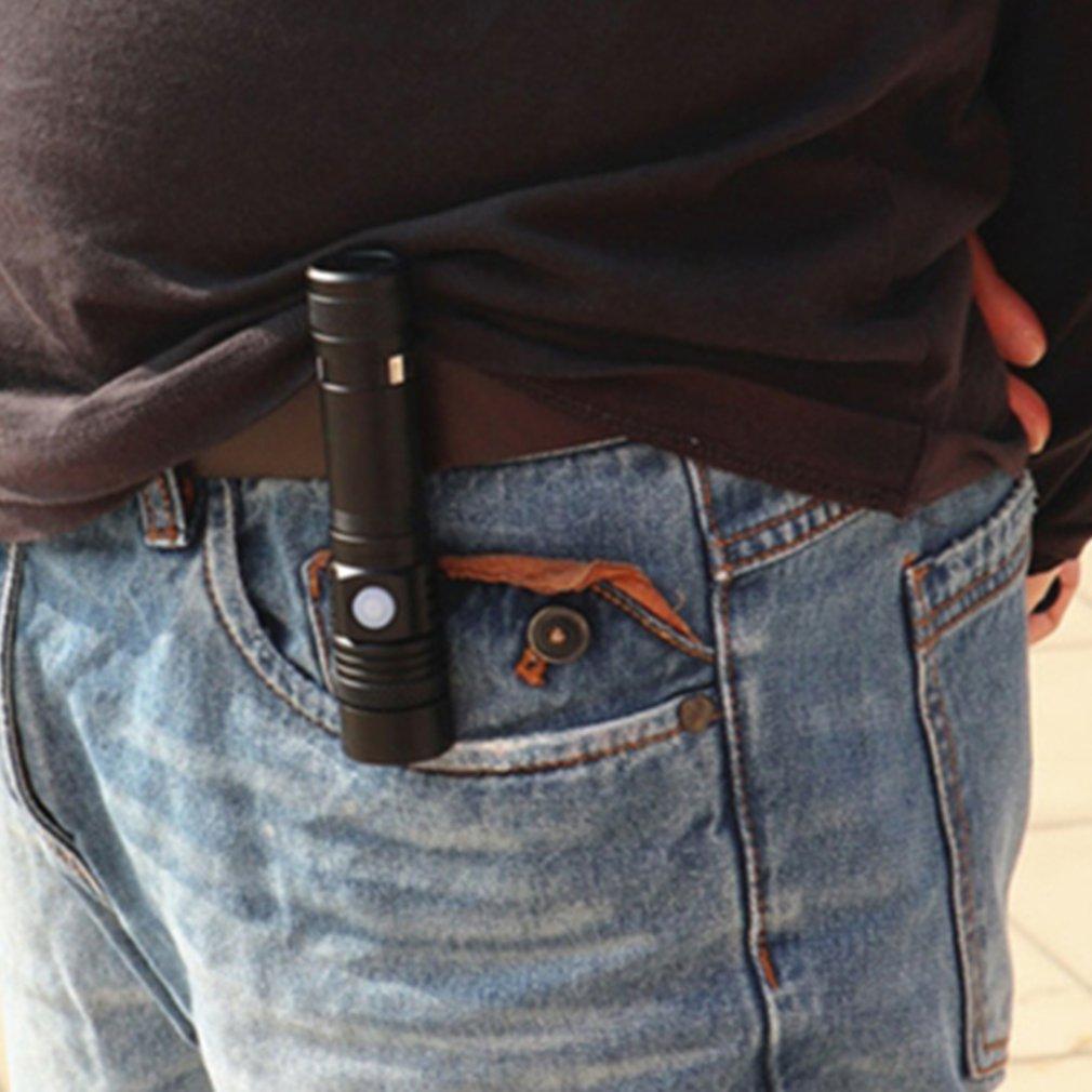Led  Self-defense Flashlight T6 Glare Long-Range Usb Charging Small Flashlight Pen Clip Outdoor Lighting Mini Flashlight