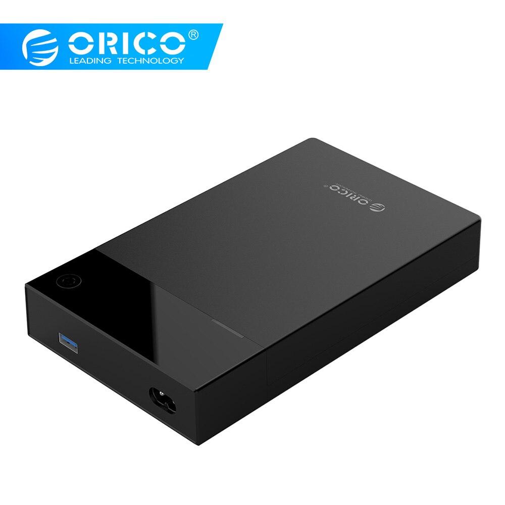 Boîtier HDD ORICO 3.5 alimentation intégrée 12V Portable SATA vers USB3.0 boîtier de disque dur Support 16 to 3.5 ''HDD SSD UASP pour PC TV PS4