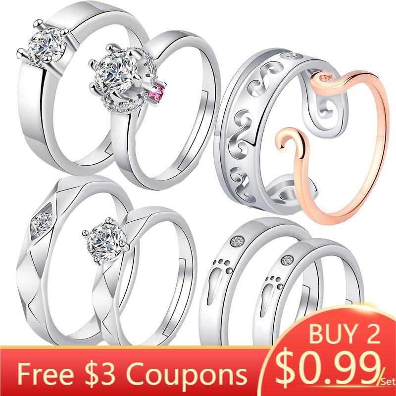 2Pcs/Pair Adjustable Romantic Rings 925 Silver Rings for Couples Wedding Lover's Heart Women Men Diamond Ring(China)