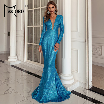 Missord 2020 Women Sexy V Neck Long Sleeve Evening Party Dress Floor Length Bodycon Maxi Dress Autumn Winter Sequins Dress M0797 missord 2020 women sexy deep v neck backless sequin dress women sleeveless maxi dress bodycon evening party dress vestido m0449
