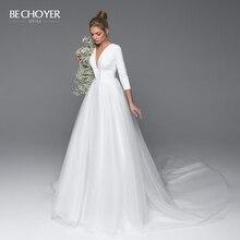 Elegant Vคอชุดแต่งงานBackless BE CHOYER EL02ซาตินA Lineรถไฟศาลเจ้าหญิงชุดเจ้าสาวที่กำหนดเองVestido De Noiva