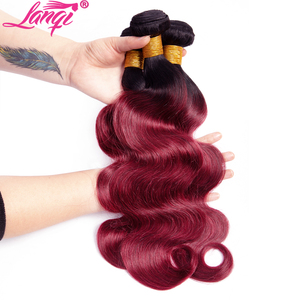 Image 4 - Brazilian hair Weave 3 bundles Burgundy Body Wave Ombre Bundles With Closure T1B/99j Human Hair Blonde bundles With Closure