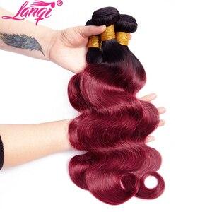 Image 4 - Brezilyalı saç örgü 3 demetleri bordo vücut dalga Ombre demetleri ile kapatma T1B/99j insan saçı sarışın demetleri ile kapatma