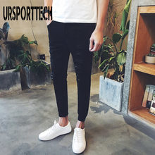 URSPORTTECH Cotton Skinny Jeans Men Pencil Pants Hole Cool Trousers for Guys 2019 Summer Fashion Ripped Plus Size