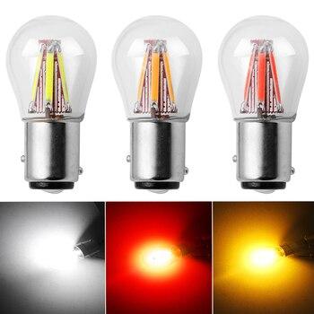 2pcs P21W BA15S 1156 1157 BAY15D LED Car Tail Brake Light Bulbs DC 12V COB Filament Auto Parking Lamp Reverse Bulb DRL Lights