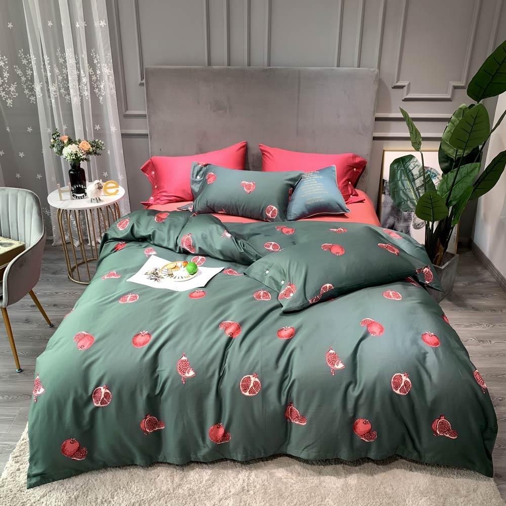Pink Pomegranate Dark Green INS Duvet Cover Set Flat Sheet High Count Egyptian Cotton Bedlinens 4pcs Queen King Size Bedding Set