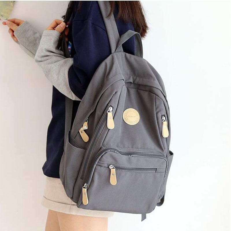 Fashion Women Backpack Female Waterproof Nylon Schoolbag Student Book Bag many zipper pocket School Backpacks for Teenager Gilrs