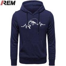 REM Hoodies เสื้อผ้าร้อนผ้าฝ้ายผู้ชายคุณภาพสูง Heartbeat ปลาคาร์พ Fisherman Angler เหยื่อ Hoodies, Sweatshirts
