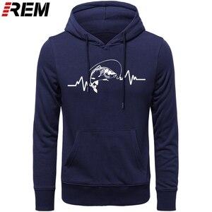 Image 1 - REM Hoodies sıcak giyim pamuk erkekler yüksek kaliteli kalp atışı sazan balıkçı fener yem Hoodies, tişörtü