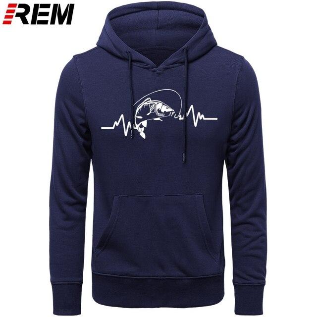 REM Hoodies sıcak giyim pamuk erkekler yüksek kaliteli kalp atışı sazan balıkçı fener yem Hoodies, tişörtü