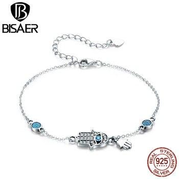 BISAER, pulsera de plata de ley 925 para mujer, mano de Fátima de alta calidad, fabricación de joyería de moda, regalo, fiesta de bodas HSB079