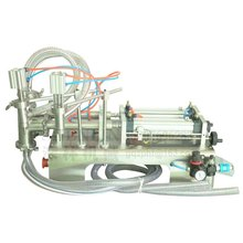 Semi-automatic filling machine pneumatic double head liquid filler beverage drink sauce 1000ml