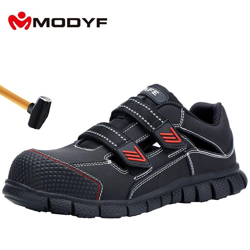 MODYF ชายเหล็กทำงานความปลอดภัยรองเท้าน้ำหนักเบา Breathable Anti smashing Anti puncture ลื่นสะท้อนรองเท้าผ้าใบลำลอง-ใน รองเท้าบู๊ทนิรภัยและทำงาน จาก รองเท้า บน   1