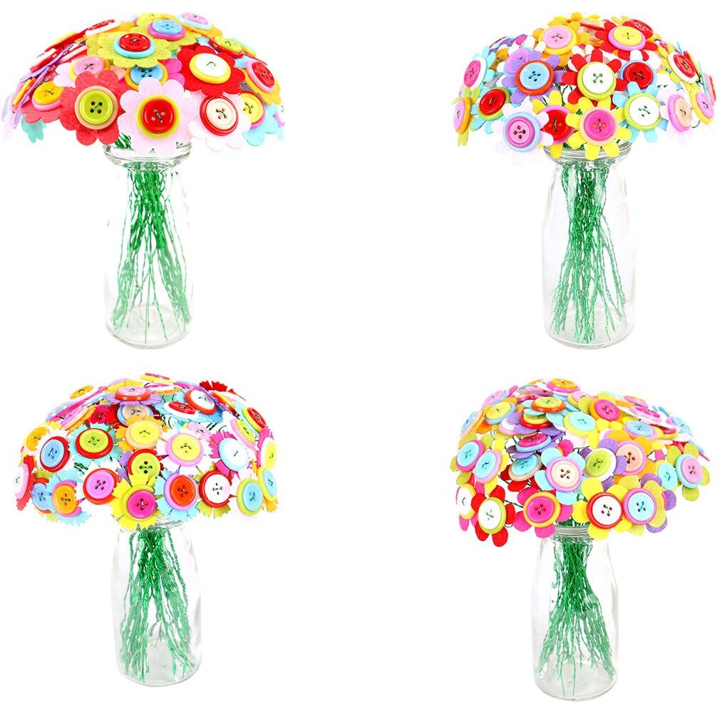 Cute DIY Handwork Flower Pot Button Puzzles Educational Toys Children Colorful Artificial Handcraft Flower Home Decor Enfant