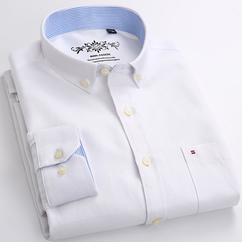 Men's Casual Long Sleeve White Oxford Dress Solid Color Shirt Button Shirt Collar New Comfort Business Apparel 5XL 6XL Big Size
