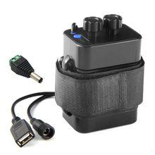 Caja de la batería 6x18650 impermeable, con fuente de alimentación de 12V CC y USB para bicicleta, enrutador telefónico de celda de luz LED