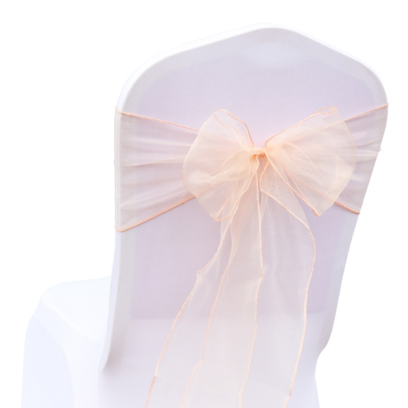 50pcs/lot Sheer Ribbon Organza Wedding Decorations Chair Sashes Belt Knot Chair Covers Bow Bands Ties Chairs Decoration Supplies