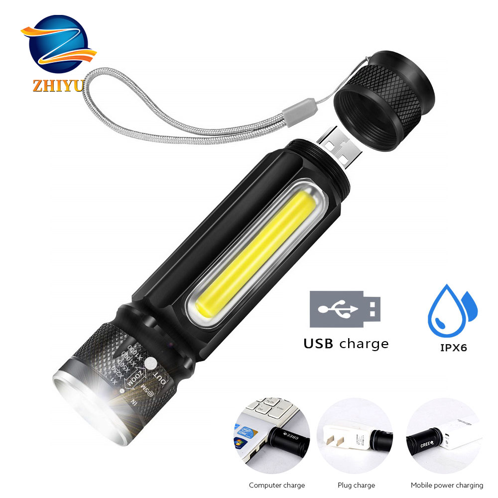 ZHIYU Built-in Battery LED Flashlight USB Rechargeable Torch Zoom Flash Light T6 Torch Side COB Linterna Tail Magnet Work Ligh
