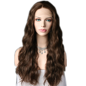 Lvcheryl Brown Color Natural Long Wavy Synthetic Lace Front Wigs Heat Resistant Hair Wigs Party Wedding Wigs for Women