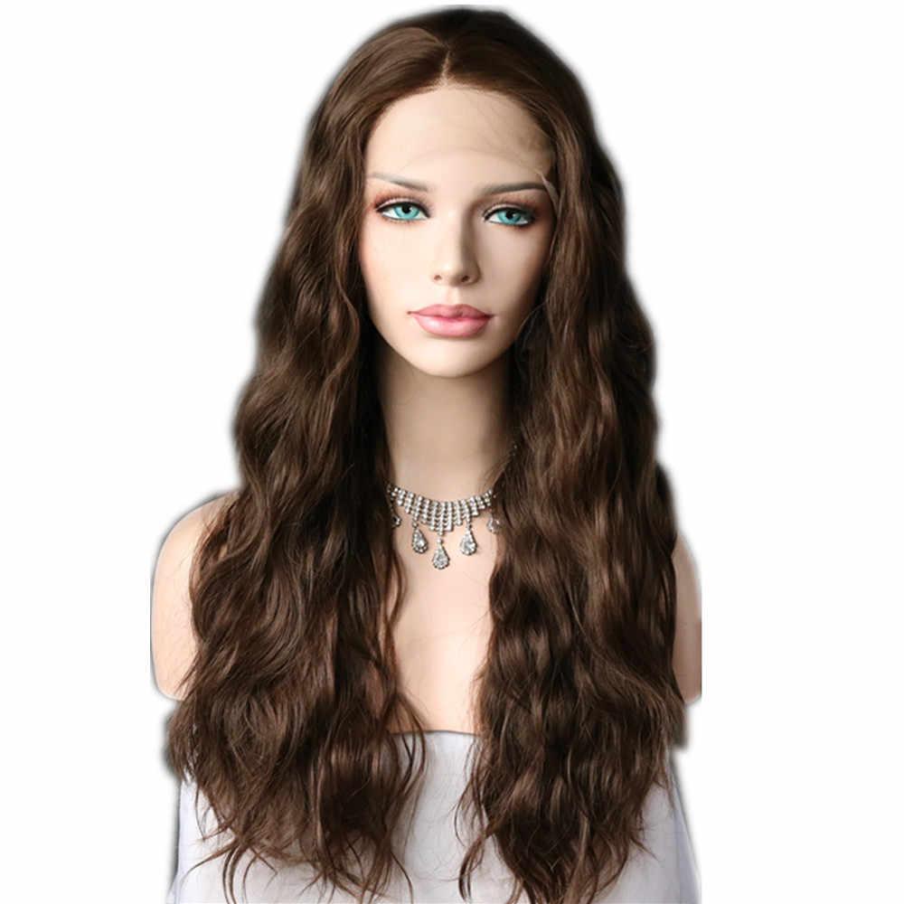 Lvcheryl brązowy kolor naturalne długie falowane syntetyczne koronki przodu peruki żaroodporne peruki z włosów Wedding Party peruki dla kobiet