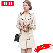 1PC Trench Coat For Women Double Breasted Slim Fit Long Spring Coat Casaco Femin