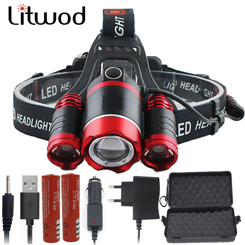 Litwod 2303REZ90 XM-L T6 3 Led Headlamp Headlight Light Lantern Head Lamp Flashlight Zoomable Rechargeable 18650 Battery