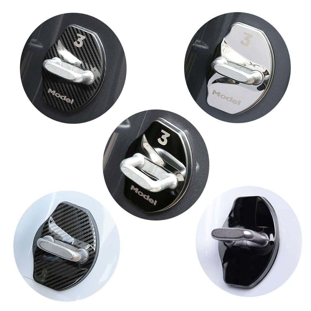 For Tesla Model 3 Car Door Stainless Steel Lock Protection Cover Trim 3M Sticker 4Pcs