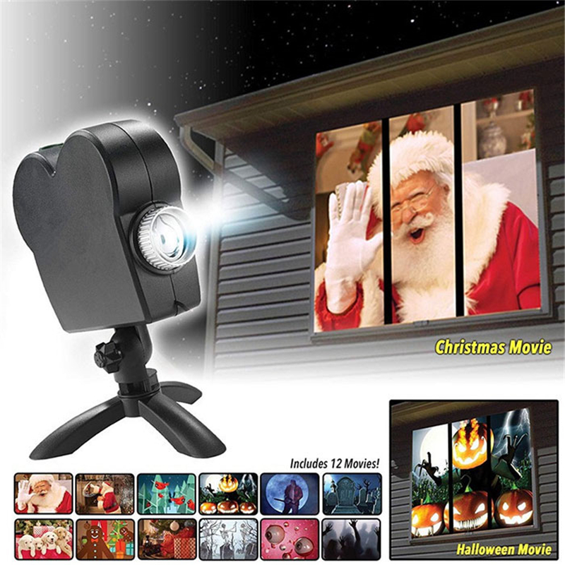 Window Display Laser Lamp EU Plug Christmas Spotlights Projector Wonderland 12 Movies Laser Projector Light