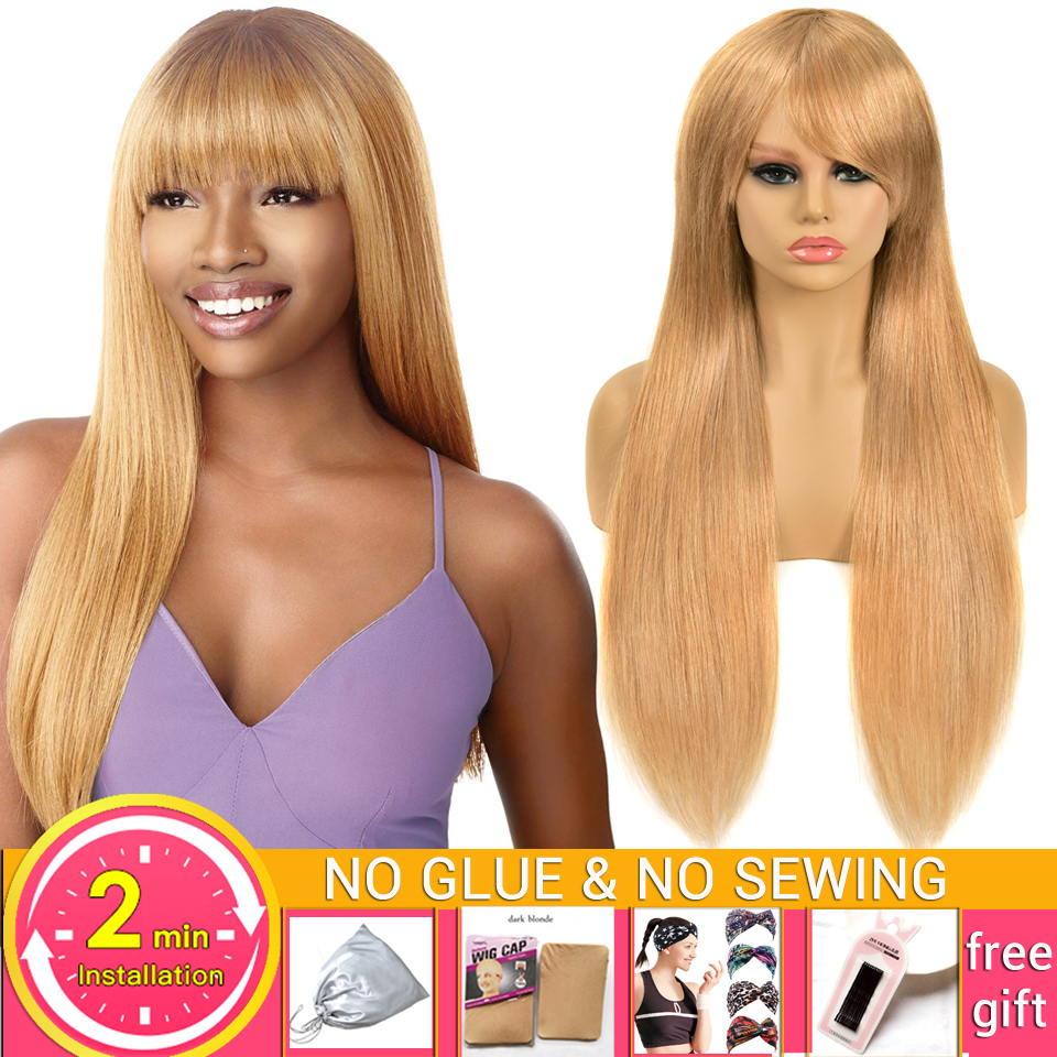 28-30inch Wig-Colored Human-Hair Straight Bangs Honey Blonde Women with -27 Wigs